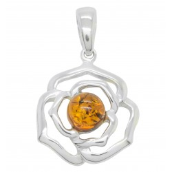 Silver and Amber pendant in the shape of a rose