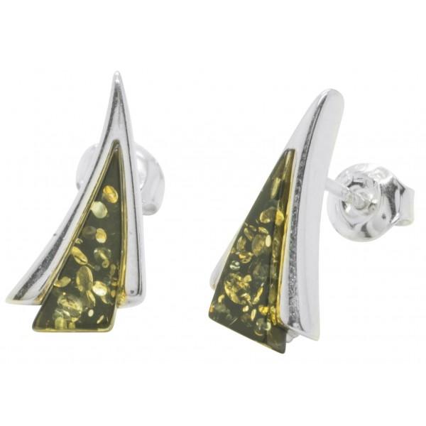 Boucle d'oreille en Ambre vert et Argent forme triangle