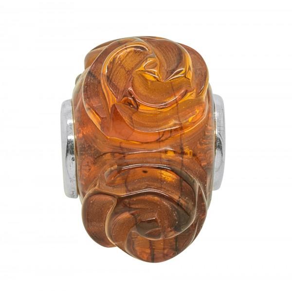 Perle en Ambre cognac style Pandora - Fleur Rose