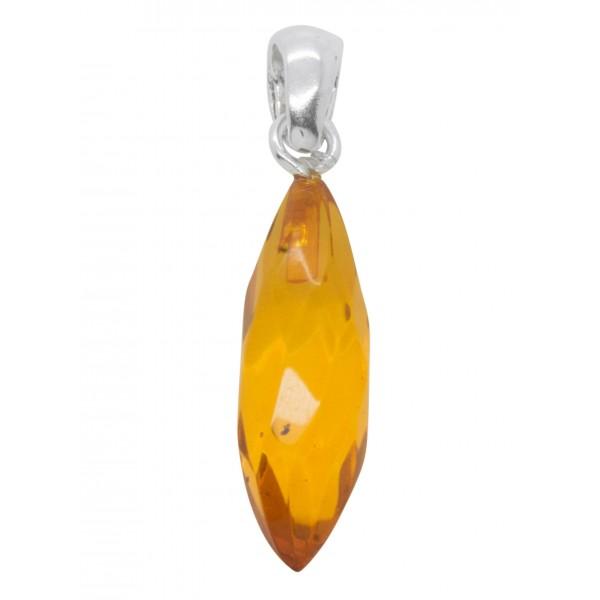Pendentif ambre cognac et argent - Amande