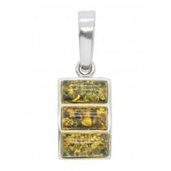 Anhänger grün und gelb Silber 925/1000 rechteckigen