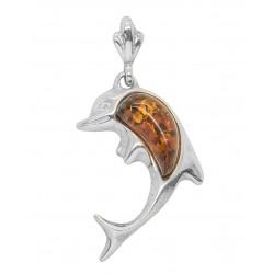 Ciondolo in argento con perla a forma di delfino Ambra
