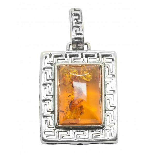 Pendentif ambre cognac et argent 925/1000 forme rectangulaire