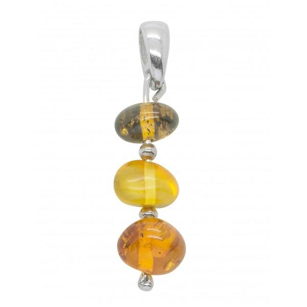 Pendantif d'oreilles Argent 925/1000 et Trio de perles d'ambre