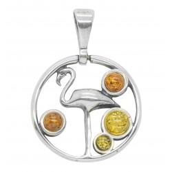 Flamingo e ciondolo ambra argento 925/1000