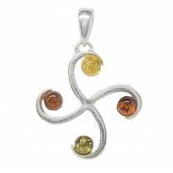 Cross pendant in silver and amber multicolor