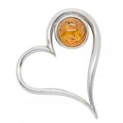Colgante de plata del corazón y Amber Honey - grande