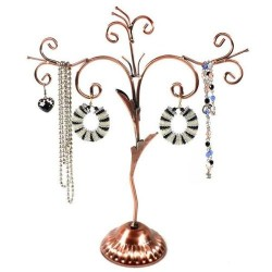 Old-fashioned jewelry tree display stand, Copper