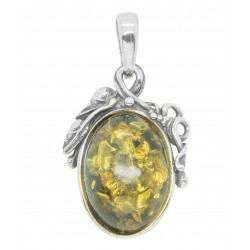 Silver Pendant and Green Amber Cabochon