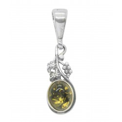 Small silver pendant and green amber cabochon