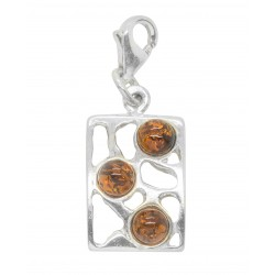 Genuine cognac and silver 925/1000 amber pendant
