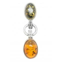 ciondolo in ambra e argento 925/1000
