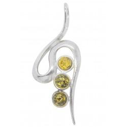 Verde Pendente ambrato e d'argento 925/1000 Zigzag