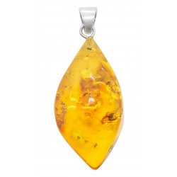 Honey and silver amber pendant