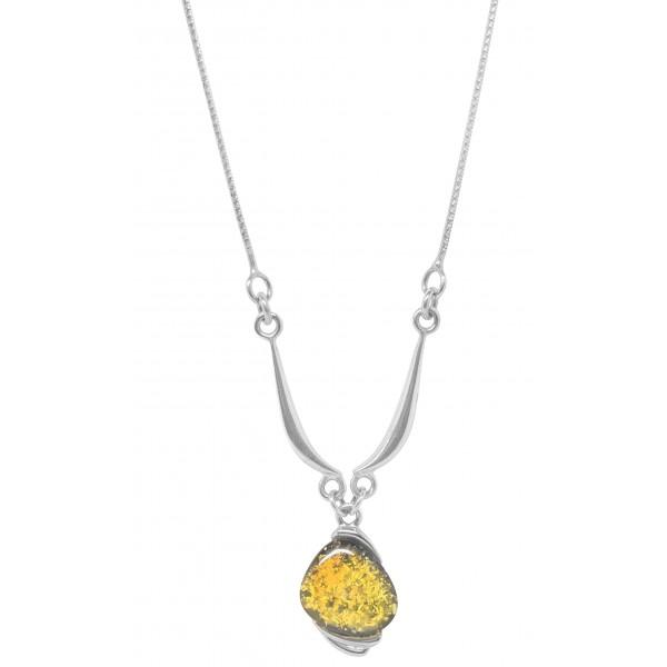 Collier en argent 925/1000 et ambre vert
