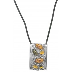 Silver necklace 925/1000 and multicolored amber
