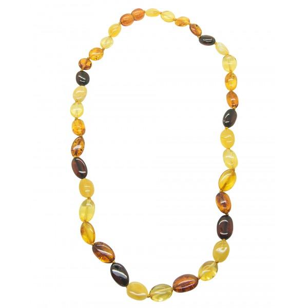 Collier d'ambre adulte avec grosse perle multicolore