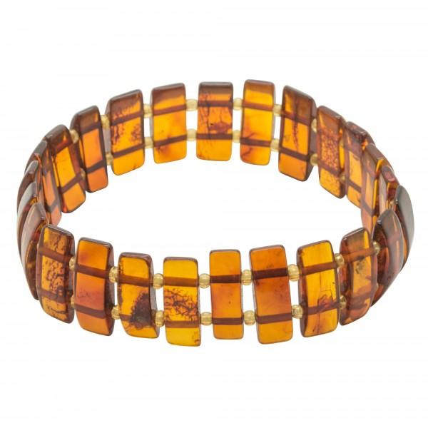Bracelet d'ambre adulte multicolore pierre rectangulaire