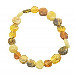 Multicolored natural amber bracelet