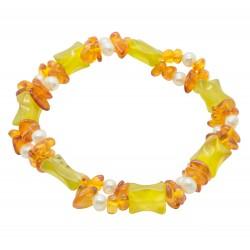 Bracelet adulte d'ambre cognac et perle naturelle