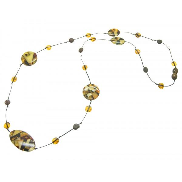 Collier d'ambre adulte avec des pierres d'ambre mosaique