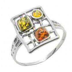 Silber-Ring und Bernstein Honig, Zitrone und grün