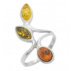 Silber Ring Bernstein und dreifarbige
