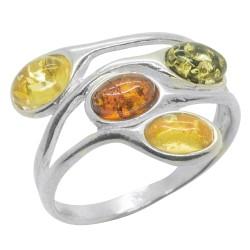 mehrfarbig Bernstein Ring und Silber 925/1000