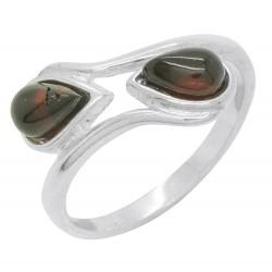 Kirsche und Silber Bernstein Ring 925/1000