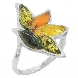 Multicolored amber ring and 925/1000 silver