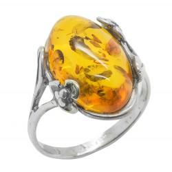 anillo de la miel ámbar y plata 925/1000
