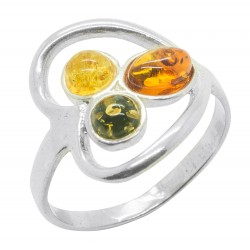 925 / 1000t silver and natural amber heart shaped ring