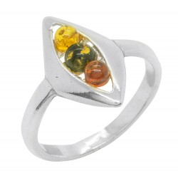 Tri-color silver and amber ring