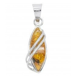 925/1000 Honey Amber and Silver Pendant