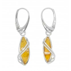 Silver 925/1000 earring and honey amber