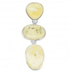 Ciondolo ambra reale e argento 925/1000