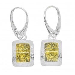 Ohrring Silber 925/1000 und grün amber