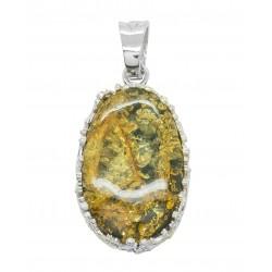 Gros pendentif ambre vert et couronne d'argent 925/1000