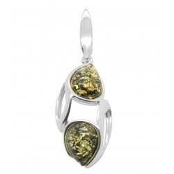 Pendant in natural green amber and silver 925/1000