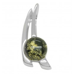 Silver pendant with green amber pearl