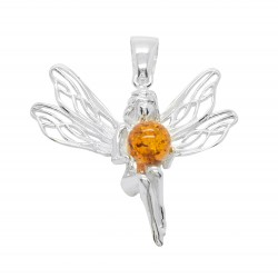 Silver pendant and amber cognac in the shape of a fairy