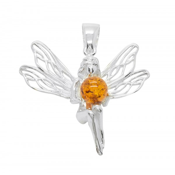 Pendentif Argent et ambre cognac en forme de fée