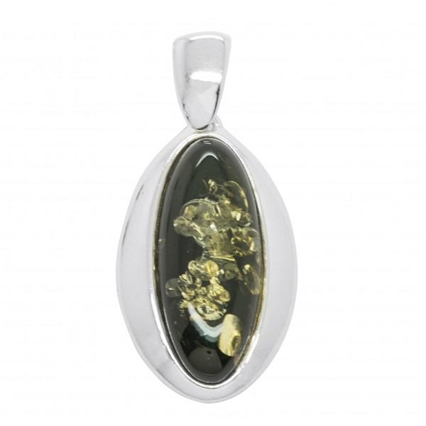 Pendentif en Ambre vert avec armature Argent 925/1000