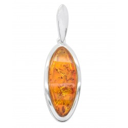Silver pendant and natural amber color cognac