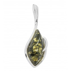 Pendant in green amber and silver