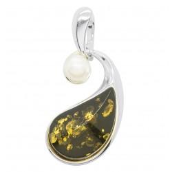 Pendentif ambre vert et perle naturelle sur argent 925/1000