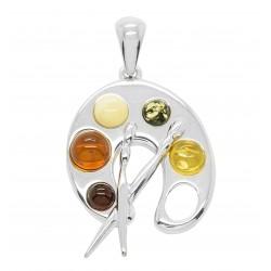 Pendentif en ambre multicolore et Argent en forme palette de peintre