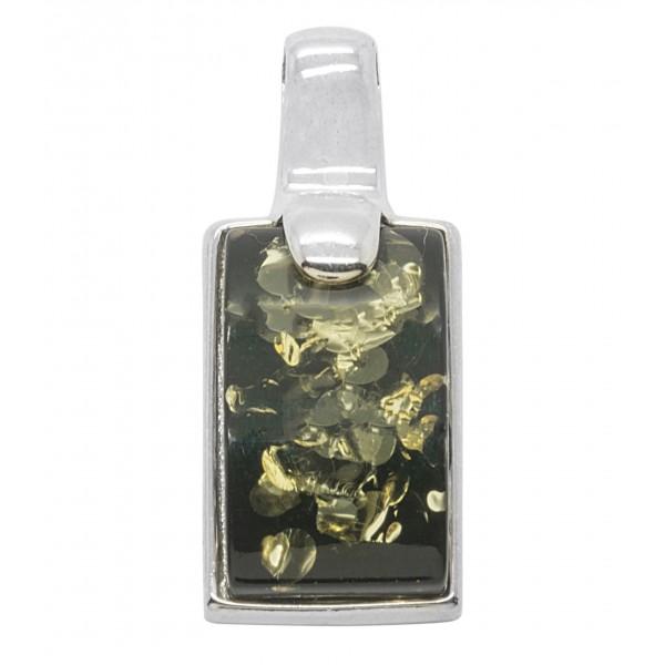 Pendentif ambre vert et argent 925/1000 forme rectangulaire