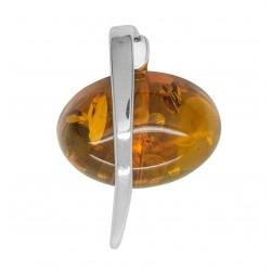 Pendentif Argent et ambre couleur cognac
