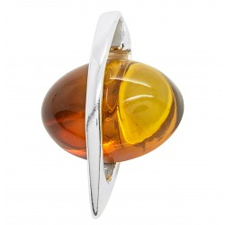 Silver pendant with sunset colour amber